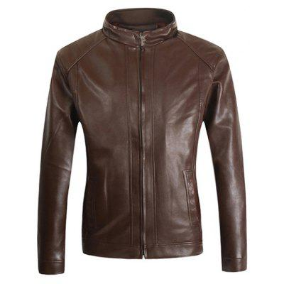 Male Stand-up Collar Zip Up PU Leather Jacket