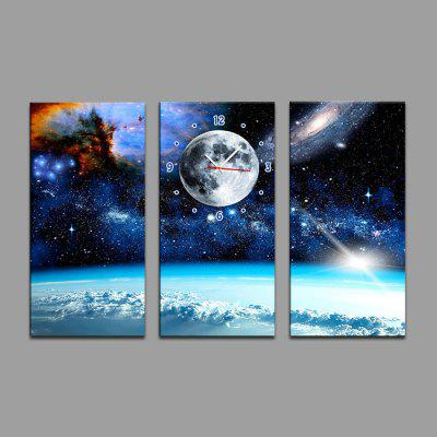 E - HOME 17083085 Amazing Wall Clock with Three Paintings