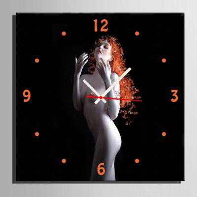 E - HOME Sexy Lady Canvas Decorative Mural Wall Clock