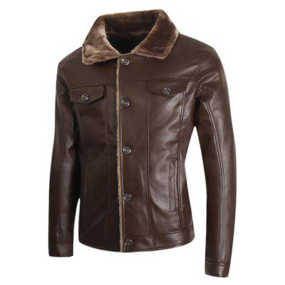 Trendy Turndown Fur Collar PU Leather Jacket for Men