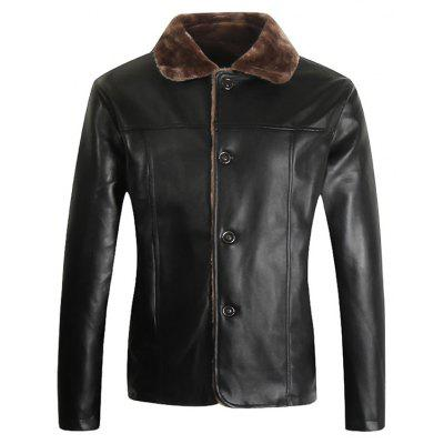 Male Casual Cool Fur Collar PU Leather Jacket