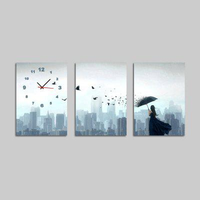 E - HOME 17083093 Wall Clock with Three Panels of Painting
