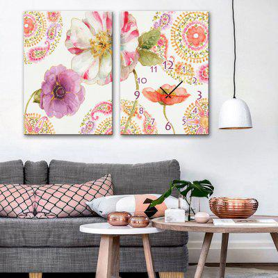 Buy E HOME Pretty Flowers Canvas Decor Mural Wall Clock 2PCS, COLORMIX, Home & Garden, Home Decors, Clocks for $31.01 in GearBest store