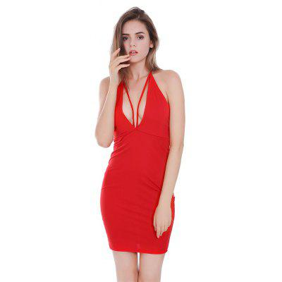 Buy RED M Backless Plunging Neck Fitted Halter Dress for $15.51 in GearBest store