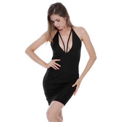 Buy BLACK S Backless Plunging Neck Fitted Halter Dress for $15.51 in GearBest store