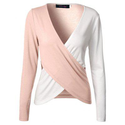 Hollow-out Contrasting Color Long-sleeved T-shirt