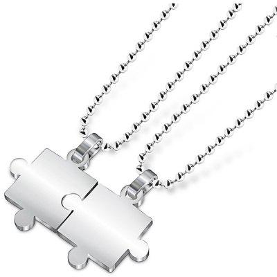 Pair of Couple Jigsaw Puzzle Pendant Necklace