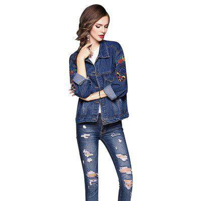 Loose Embroidery Denim Jacket for Women