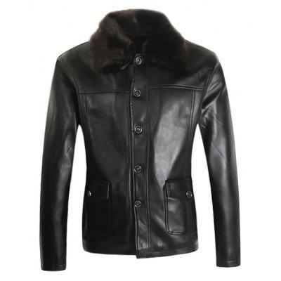 Male Turndown Fur Collar PU Leather Jacket