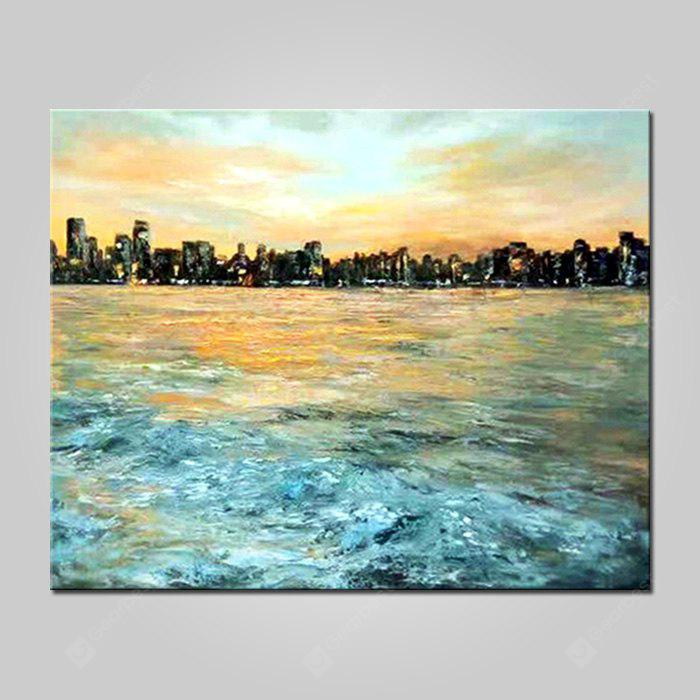 Mintura Modern Oil Painting Unframed Seaside City Wall Art
