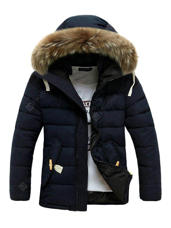 DEEP BLUE M Warm Fashion Hooded Winter Jacket