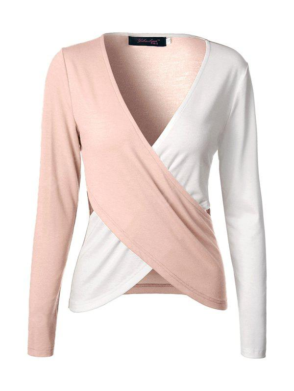 Buy Hollow-out Contrasting Color Long-sleeved T-shirt L LIGHT PINK