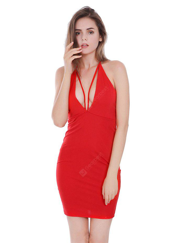 RED L Backless Plunging Neck Fitted Halter Dress