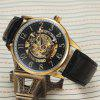 SEWOR SEW0R028 Leather Band Mechanical Men Watch - BLACK AND GOLDEN