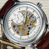 SEWOR SEW0R045 Leather Band Mechanical Men Watch - SILVER AND BROWN