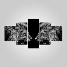 Angry Lion Stretched Canvas Print 5PCS