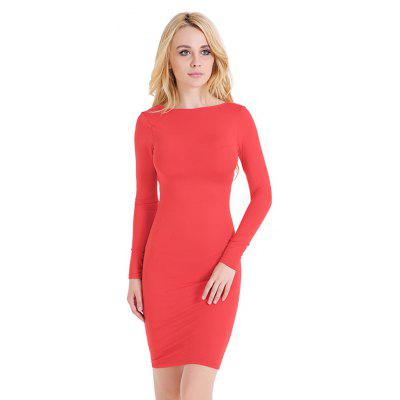 Long-sleeved Back Cross Strap Fitted Dress