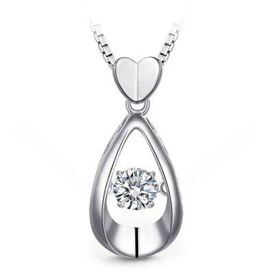Female 925 Sterling Silver Water Drop Pendant Necklace