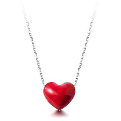 T400 Exquisite 925 Sterling Silver Red Heart Necklace