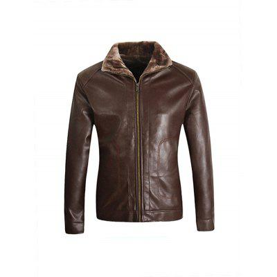 Male Cool Fur Collar PU Leather Biker Jacket