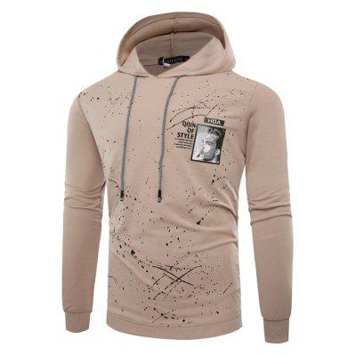CT8756 Male Splashed Ink Printed Pullover Hoodie