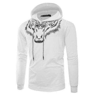 CT8755 Male Animal Head Printed Pullover Hoodie