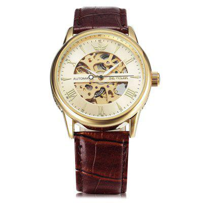 SEWOR SEW0R0913 Leather Band Mechanical Men Watch