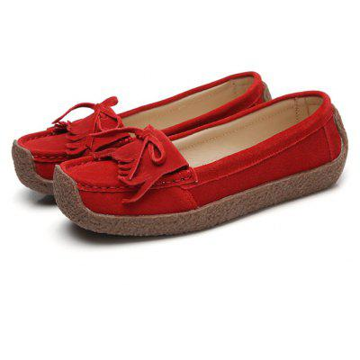Female Soft Lightweight Tassels Bow Casual Loafers