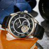 SEWOR SW036005 Leather Band Mechanical Men Watch - BLACK AND SILVER