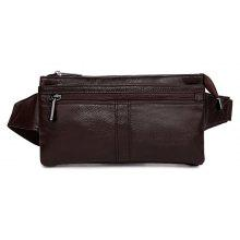 338 Men Soft Genuine Leather Camping Waist Bag