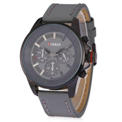 Curren 8187 Men Quartz Watch Analog Wristwatch Leather Band