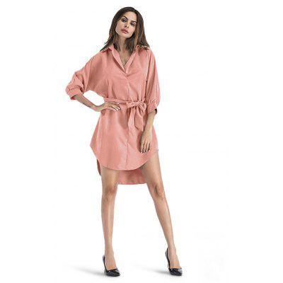 Buy ORANGEPINK M Loose Turn-down Collar Irregular Dress for $24.13 in GearBest store