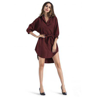 Buy WINE RED M Loose Turn-down Collar Irregular Dress for $24.13 in GearBest store