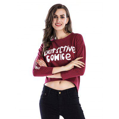 Buy WINE RED M Women Printed Pleated Long-sleeved Hoodie for $24.21 in GearBest store