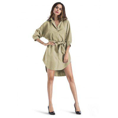 Buy KHAKI M Loose Turn-down Collar Irregular Dress for $24.13 in GearBest store