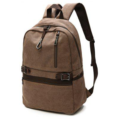 Buy Men Trendy Leather-trimmed Canvas Laptop Backpack, COFFEE, Bags & Shoes, Men's Bags, Backpacks for $23.46 in GearBest store