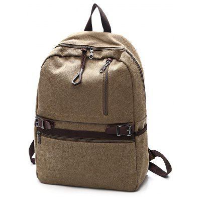 Buy Men Trendy Leather-trimmed Canvas Laptop Backpack, KHAKI, Bags & Shoes, Men's Bags, Backpacks for $23.46 in GearBest store
