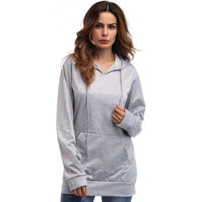 Female Solid Color Loose Long Pullover Hoodie