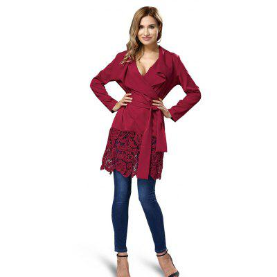 Buy WINE RED L Lace Jointed Wrap Dress with Belt for $25.45 in GearBest store