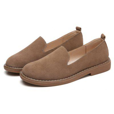 Buy KHAKI 36 Women Simple Leisure Suede Flat Shoes for $31.39 in GearBest store