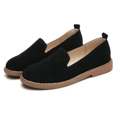 Buy BLACK 37 Women Simple Leisure Suede Flat Shoes for $31.39 in GearBest store