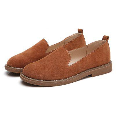 Buy BROWN 35 Women Simple Leisure Suede Flat Shoes for $31.39 in GearBest store