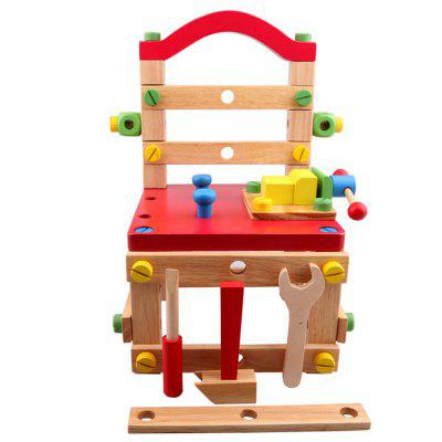 Disassembly and Assembly Wooden Nut Set Tool Chair Toy Bricks