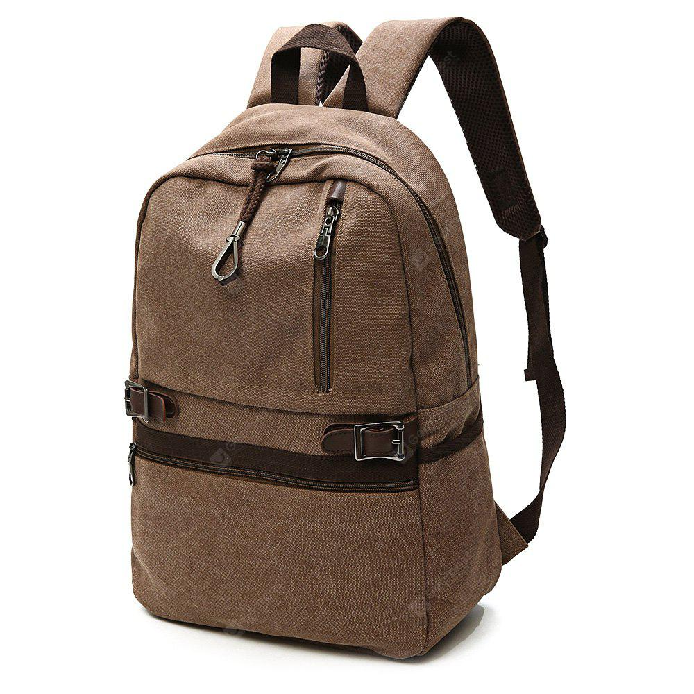Men Trendy Leather-trimmed Canvas Laptop Backpack