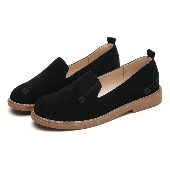 Women Simple Leisure Suede Flat Shoes, BLACK, 35, Bags & Shoes, Women's Shoes, Women's Flats