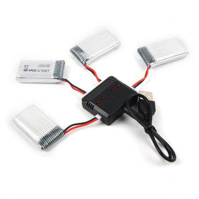 Battery Charging Set 4 x 800mAh Li + 1 to 4 Balance USB Charger for Syma X5C / X5 / X5SW CX - 30 Skytech M68 Bayang X5C Quadcopter RC Model Accessories