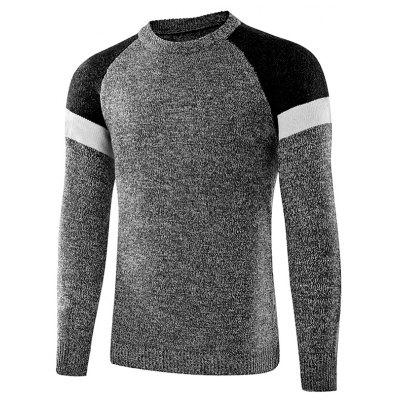 Buy LIGHT GRAY 2XL Fashion Round Neck Spliced Sweater for Men for $25.05 in GearBest store