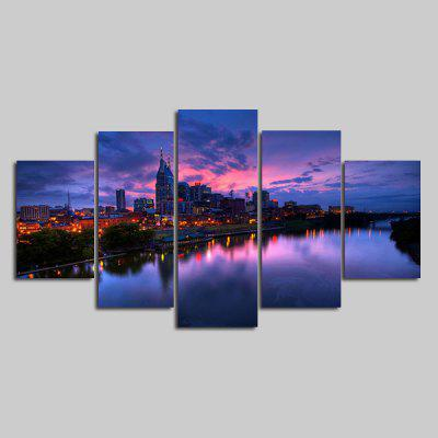 Buy COLORMIX YSDAFEN Modern City Night View Framed Canvas Print 5PCS for $55.37 in GearBest store