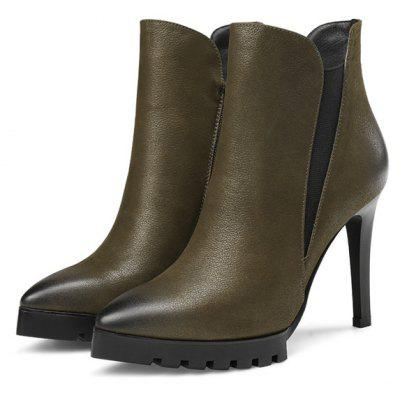 Feminino Elegante Soft Ankle-top Stiletto Heel Leather Boots