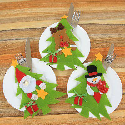 MCYH Christmas Home Decorative Knife Fork Set Cover 3pcs